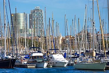 Sailing boats on Barcelona Marina at Port Vell, Barcelona, Catalonia, Spain, Europe