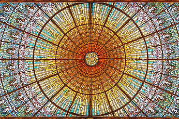 Stained glass skylight in Palace of Catalan Music (Palau de la Musica Catalana), Barcelona, Catalonia, Spain, Europe