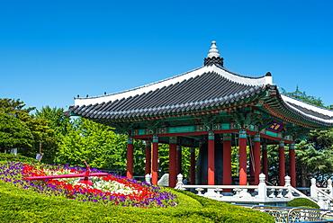 Citizen's Bell Pavilion with Flower clock, Yongdusan Park, Busan, South Korea, Asia