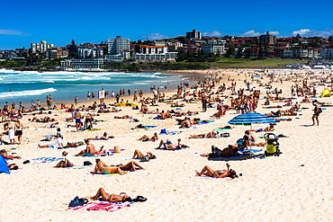 A packed Bondi Beach on a summer's day, Sydney, New South Wales, Australia, Pacific