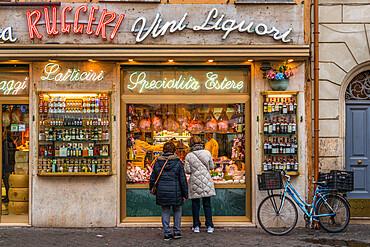 Grocery storefront at Campo de Fiori square, Rome, Lazio, Italy, Europe