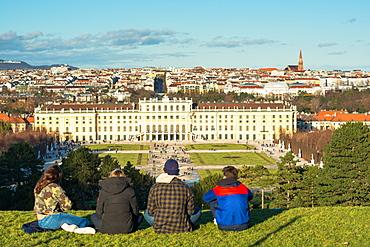 Vienna city skyline viewed from Schonbrunn Palace garden, UNESCO World Heritage Site, Vienna, Austria, Europe