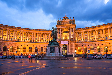 Hofburg Imperial Palace at dusk, Vienna, Austria, Europe