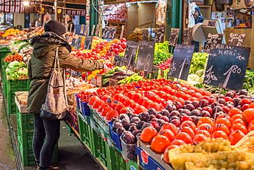 Fruit and vegetables on display at Naschmarkt open food market, Vienna, Austria, Europe