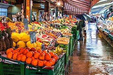 Fruit and vegetables on display at Naschmarkt open food market in Vienna, Austria, Europe
