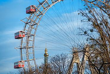 Historic Vienna Giant Ferris Wheel (Riesenrad) in Prater, Vienna, Austria, Europe
