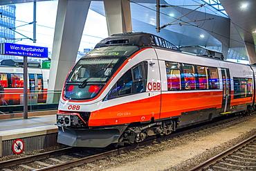 OBB Talent railcar train at Vienna Central station (Hauptbahnhof), Austria, Europe