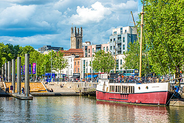 Views of Bristol city skyline from Harbourside. Avon. England. UK.