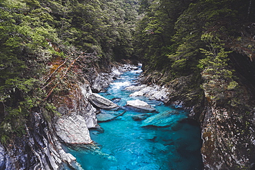 Blue Pools, Mount Aspiring National Park, Southern Alps, UNESCO World Heritage Site, South Island, New Zealand, Pacific