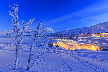 Village of Riskgransen during twilight, Riskgransen, Norbottens Ian, Lapland, Sweden, Scandinavia, Europe