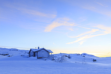 House isolated on the border between Norway and Sweden, Bjornfjell, Riskgransen, Norbottens Ian, Lapland, Sweden, Scandinavia, Europe