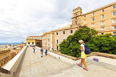 Tourists walks on the ancient walls of Cagliari, Cagliari province, Sardinia, Italy, Mediterranean, Europe