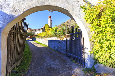 Glimpse of the village of Parcines with its typical church. Parcines, Val Venosta, Alto Adige/Sudtirol, Italy, Europe