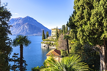 Villa Cipressi from the lakeshore of Varenna, Lake Como, Lombardy, Italian Lakes, Italy, Europe