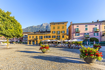 Colourful square of the village of Colico in the summer, Lake Como, Lombardy, Italian Lakes, Italy, Europe