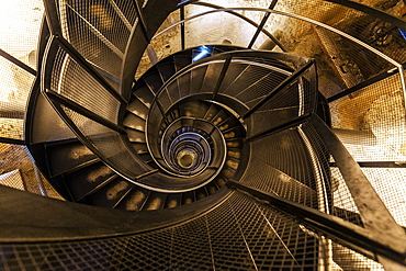Low angle view of spiral staircase in the Stadtturm tower, Innsbruck, Tyrol, Austria, Europe