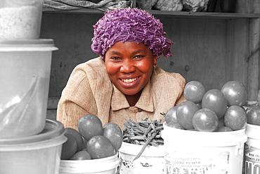 A lady selling vegetables in Kigali, Rwanda, Africa - 1270-140B