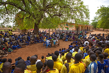 Students at a junior High School watch a play about teenage pregnancy put on by the schools Gender Club, Ghana, West Africa, Africa - 1270-143