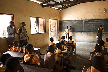 A classroom of school children learning about the potential of cocoa farming, Ghana, West Africa, Africa