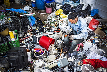 Plastic recycling centre, New Territories, Hong Kong, China, Asia