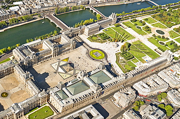 Aerial view of the Louvre, Paris, France, Europe