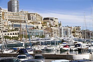 View of the Harbor of Monaco Ville (Porte Hercule) with its luxury ships, Monaco, French Riviera, Mediterranean, Europe