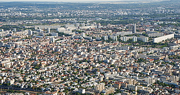 The suburbs of Paris with port area in the background and the huge flats in Ville de Gennevilliers, Paris, France, Europe