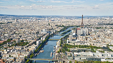 Aerial view of the Eiffel Tower with the river Seine, Paris, France, Europe