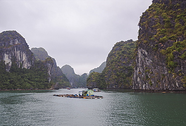 Floating fishing village in the Lan Ha Bay, Cat Ba Island, a typical Karst landscape in Vietnam, Indochina, Southeast Asia, Asia