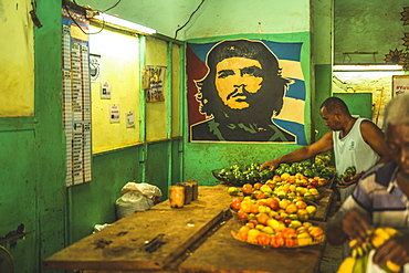 A local market with Che mural in La Habana (Havana), Cuba, West Indies, Caribbean, Central America