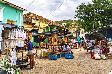 Local souvenir market in Trinidad, UNESCO World Heritage Site, Sancti Spiritus, Cuba, West Indies, Caribbean, Central America
