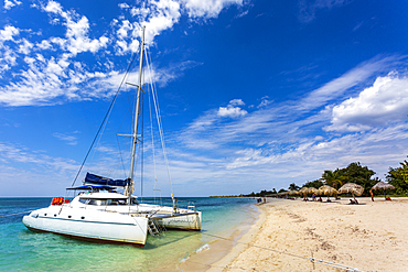Yacht near the beach Playa Ancon near Trinidad, Trinidad, Cuba, West Indies, Caribbean, Central America