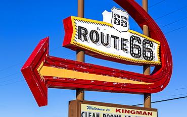Route 66 Motel Sign, Kingman, Arizona, United States of America, North America