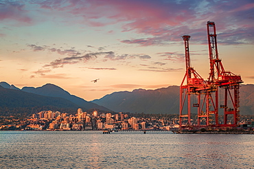Seaplane flying over North Vancouver at golden hour, Vancouver harbour cranes on the right, Vancouver, British Columbia, Canada, North America