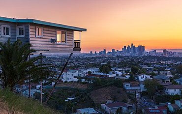 View of Downtown skyline at golden hour, Los Angeles, California, United States of America, North America