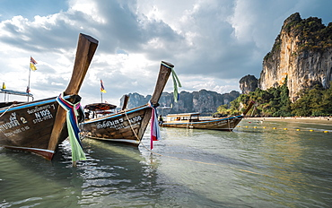 Long tail boats on Railay beach in Railay, Ao Nang, Krabi Province, Thailand, Southeast Asia, Asia