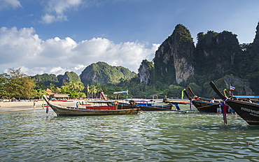 Long tail boats on Railay beach in Railay, Ao Nang, Krabi Province, Thailand, Southeast Asia, Asia