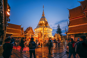 Sunrise at Wat Phra That Doi Suthep temple, Chiang Mai, Thailand, Southeast Asia, Asia