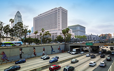 Los Angeles City Hall and Freeway, downtown Los Angeles, California, United States of America, North America