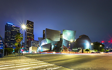 Walt Disney Concert Hall, Downtown Los Angeles city at night, Los Angeles, California, United States of America, North America