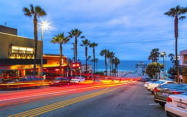 Manhattan Beach Pier and Manhattan Beach boulevard, California, United States of America, North America