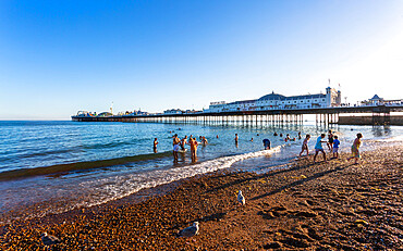 Brighton Palace Pier and beach, Brighton and Hove, East Sussex, England, United Kingdom, Europe