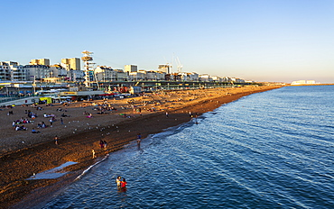 Brighton beach from Brighton Palace Pier, East Sussex, England, United Kingdom, Europe