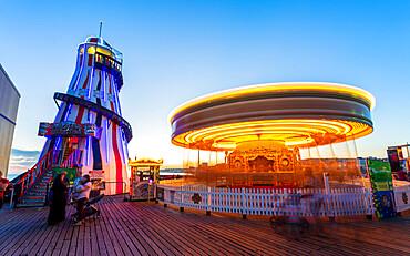 Brighton Palace Pier at dusk, East Sussex, England, United Kingdom, Europe