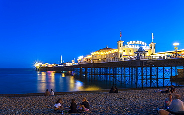 Brighton Palace Pier and beach at night, East Sussex, England, United Kingdom, Europe