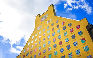 Gable, mural painting with various Latvian city crests in the historic Old Riga, Latvia, Baltic States, Europe