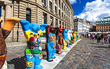 Dome Cathedral square, United Buddy Bears, The Art of Tolerance, Riga, Latvia, Baltic States, Europe