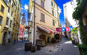 Dome Cathedral and Medieval street, Old Riga, Latvia, Baltic States, Europe