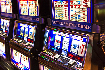 Gambling machines in Hotel and Casino, Las Vegas, Nevada, United States of America, North America