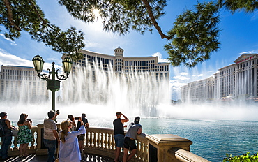 View of Fountains of Bellagio, The Strip, Las Vegas Boulevard, Las Vegas, Nevada, United States of America, North America